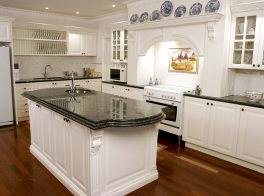 Marble and Blue plates Kitchen